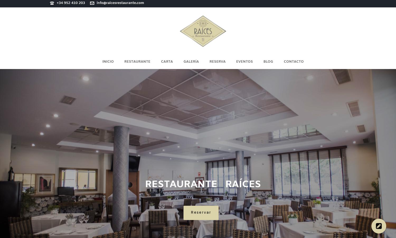 Página Web Restaurante Raíces